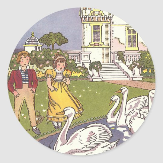 Vintage Fairy Tale, The Ugly Duckling by Hauman Classic Round Sticker