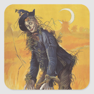 Vintage Fairy Tale, the Wizard of Oz Scarecrow Square Sticker