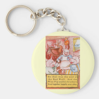 Vintage Fairy Tale Three Little Pigs and the Wolf Basic Round Button Keychain