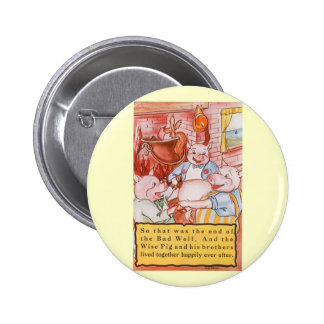 Vintage Fairy Tale Three Little Pigs and the Wolf Pinback Buttons