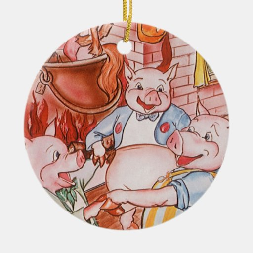 Vintage Fairy Tale Three Little Pigs and the Wolf Ceramic Ornament