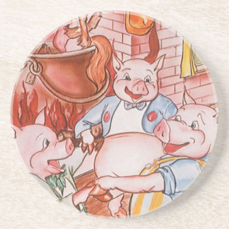 Vintage Fairy Tale Three Little Pigs and the Wolf Beverage Coasters