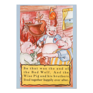Vintage Fairy Tale Three Little Pigs and the Wolf 5x7 Paper Invitation Card