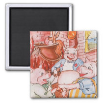 Vintage Fairy Tale Three Little Pigs and the Wolf Magnet