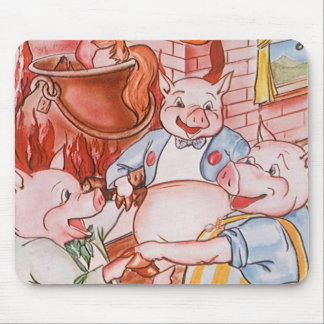 Vintage Fairy Tale Three Little Pigs and the Wolf Mouse Pad