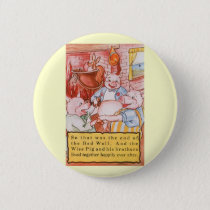 Vintage Fairy Tale Three Little Pigs and the Wolf Pinback Button