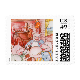 Vintage Fairy Tale Three Little Pigs and the Wolf Stamp