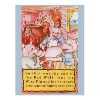 Vintage Fairy Tale Three Little Pigs and the Wolf Postcard