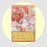 Vintage Fairy Tale Three Little Pigs and the Wolf Sticker