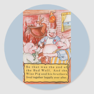 Vintage Fairy Tale Three Little Pigs and the Wolf Classic Round Sticker