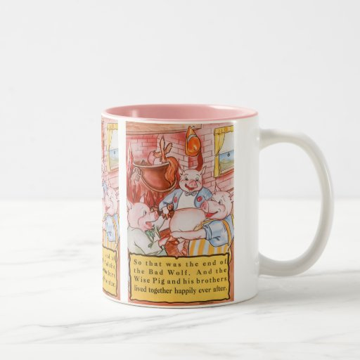 Vintage Fairy Tale Three Little Pigs and the Wolf Two-Tone Coffee Mug