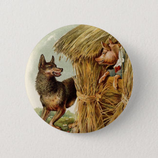 Vintage Fairy Tale, Three Little Pigs and Wolf Button
