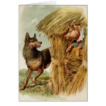 Vintage Fairy Tale, Three Little Pigs and Wolf Greeting Card