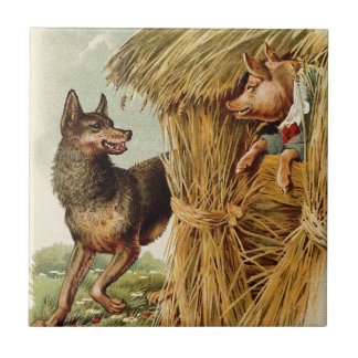 Vintage Fairy Tale, Three Little Pigs and Wolf Ceramic Tile