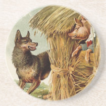 Vintage Fairy Tale, Three Little Pigs and Wolf Drink Coaster