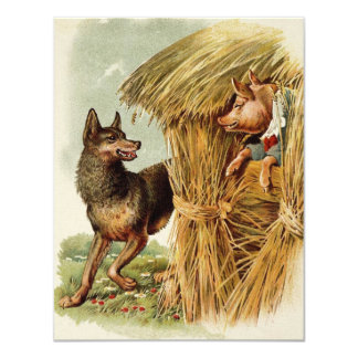Vintage Fairy Tale, Three Little Pigs and Wolf Announcement Card