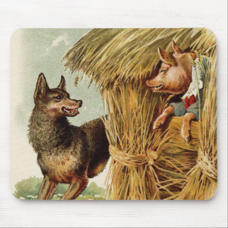 Vintage Fairy Tale, Three Little Pigs and Wolf Mouse Pad