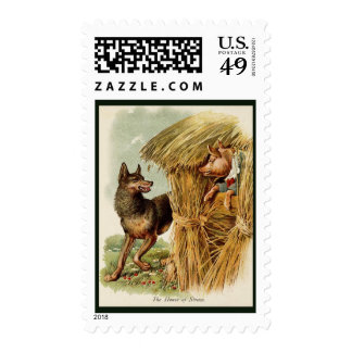 Vintage Fairy Tale, Three Little Pigs and Wolf Stamps