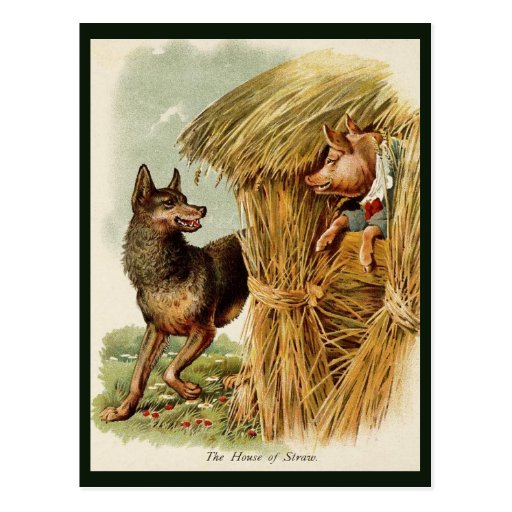 Vintage Fairy Tale, Three Little Pigs and Wolf Postcard
