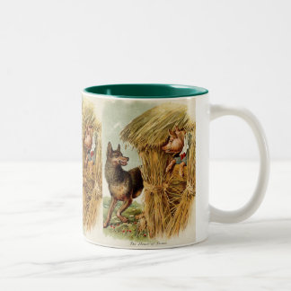 Vintage Fairy Tale, Three Little Pigs and Wolf Two-Tone Coffee Mug