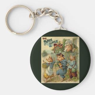 Vintage Fairy Tale, Three Little Pigs Basic Round Button Keychain