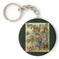 Vintage Fairy Tale, Three Little Pigs Keychain