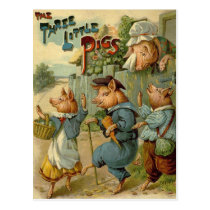 Vintage Fairy Tale, Three Little Pigs Postcard