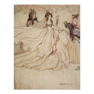 Vintage Fairy Tales, Cinderella by Arthur Rackham Poster