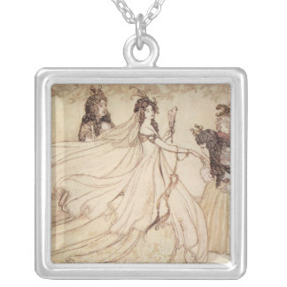 Vintage Fairy Tales, Cinderella by Arthur Rackham Silver Plated Necklace