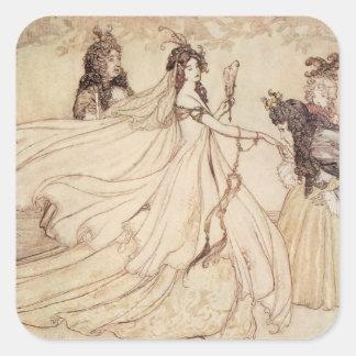 Vintage Fairy Tales, Cinderella by Arthur Rackham Square Sticker