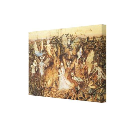 Vintage Fairy Tales, Rabbit Among the Fairies Canvas Print