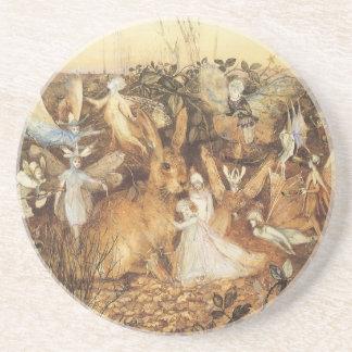 Vintage Fairy Tales, Rabbit Among the Fairies Drink Coaster