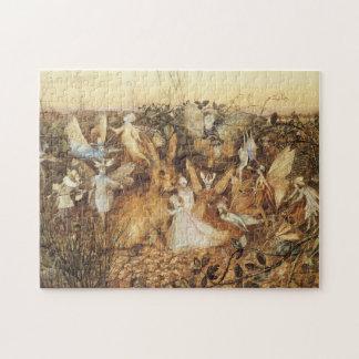 Vintage Fairy Tales, Rabbit Among the Fairies Jigsaw Puzzle