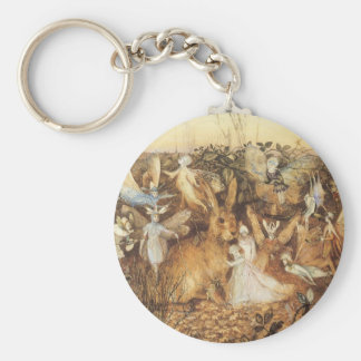 Vintage Fairy Tales, Rabbit Among the Fairies Basic Round Button Keychain