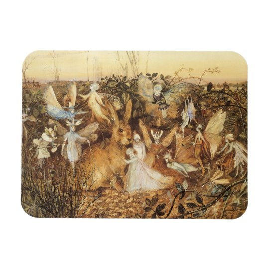 Vintage Fairy Tales, Rabbit Among the Fairies Magnet
