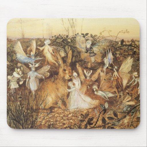 Vintage Fairy Tales, Rabbit Among the Fairies Mousepad
