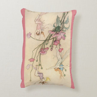 Vintage Fairy Tales, Three Spirits Filled With Joy Decorative Pillow