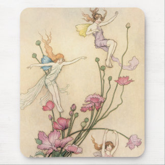 Vintage Fairy Tales, Three Spirits Filled With Joy Mouse Pad