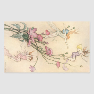 Vintage Fairy Tales, Three Spirits Filled With Joy Rectangular Sticker