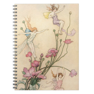 Vintage Fairy Tales, Three Spirits Filled With Joy Spiral Notebook