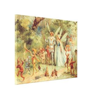 Vintage Fairy Tales, Thumbelina and Prince Wedding Canvas Print