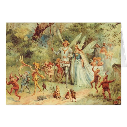 Vintage Fairy Tales, Thumbelina and Prince Wedding Card