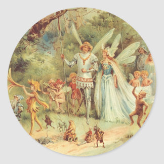 Vintage Fairy Tales, Thumbelina and Prince Wedding Classic Round Sticker