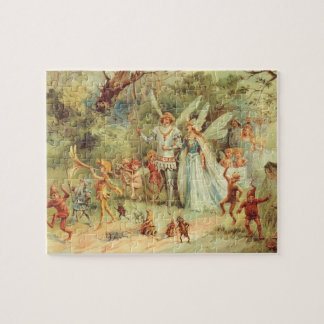 Vintage Fairy Tales, Thumbelina and Prince Wedding Jigsaw Puzzle