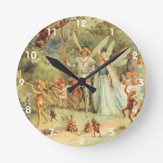 Vintage Fairy Tales, Thumbelina and Prince Wedding Round Clock
