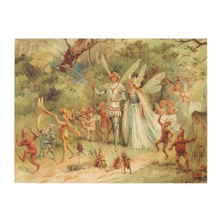 Vintage Fairy Tales, Thumbelina and Prince Wedding Wood Print