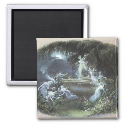 Vintage Fairy Visit At Moonlight 1832 2 Inch Square Magnet