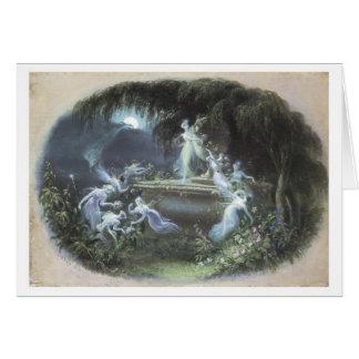 Vintage Fairy Visit At Moonlight 1832 Greeting Cards