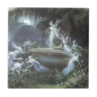 Vintage Fairy Visit At Moonlight 1832 Ceramic Tile