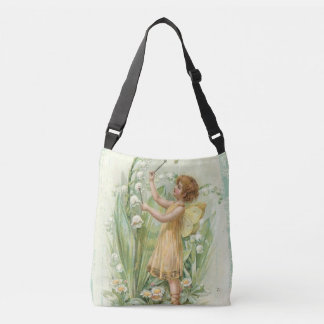 Vintage fairy with lilies crossbody bag